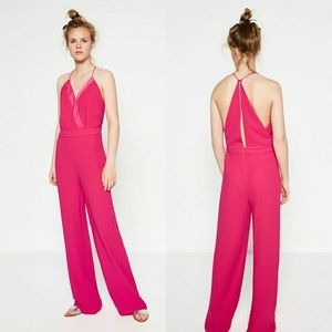 Zara | Fuchsia Wide Leg Sleeveless Pink Jumpsuit